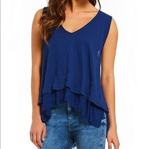 NWT Peachy Tee Tiered Frayed Hem Sleeveless Top